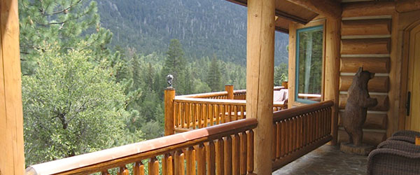 California log home builders porch and deck additions for Log cabin builders in california